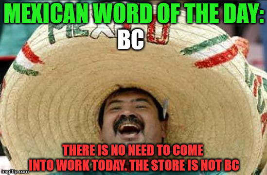 mexican word of the day | MEXICAN WORD OF THE DAY: BC THERE IS NO NEED TO COME INTO WORK TODAY. THE STORE IS NOT BC | image tagged in mexican word of the day | made w/ Imgflip meme maker