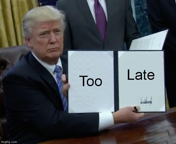 Trump Bill Signing Meme | Too Late | image tagged in memes,trump bill signing | made w/ Imgflip meme maker