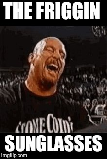 Stone Cold Laughing | THE FRIGGIN SUNGLASSES | image tagged in stone cold laughing | made w/ Imgflip meme maker