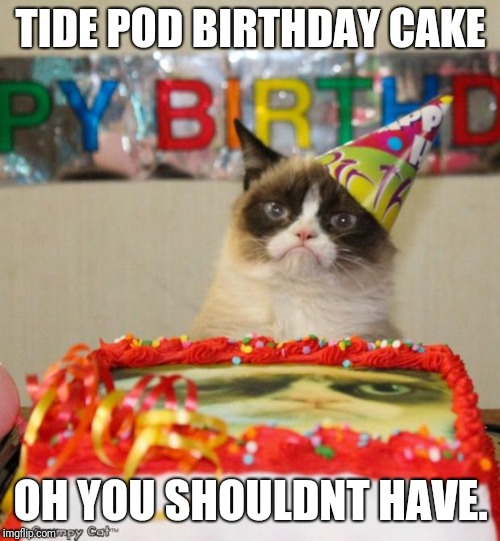 Grumpy Cat Birthday Meme | TIDE POD BIRTHDAY CAKE OH YOU SHOULDNT HAVE. | image tagged in memes,grumpy cat birthday,grumpy cat | made w/ Imgflip meme maker
