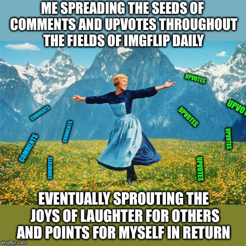 My daily IMGflip routine | ME SPREADING THE SEEDS OF COMMENTS AND UPVOTES THROUGHOUT THE FIELDS OF IMGFLIP DAILY EVENTUALLY SPROUTING THE JOYS OF LAUGHTER FOR OTHERS A | image tagged in woman in a field of flowers,memes,upvotes,comments,best things in life are free,imgflip users | made w/ Imgflip meme maker