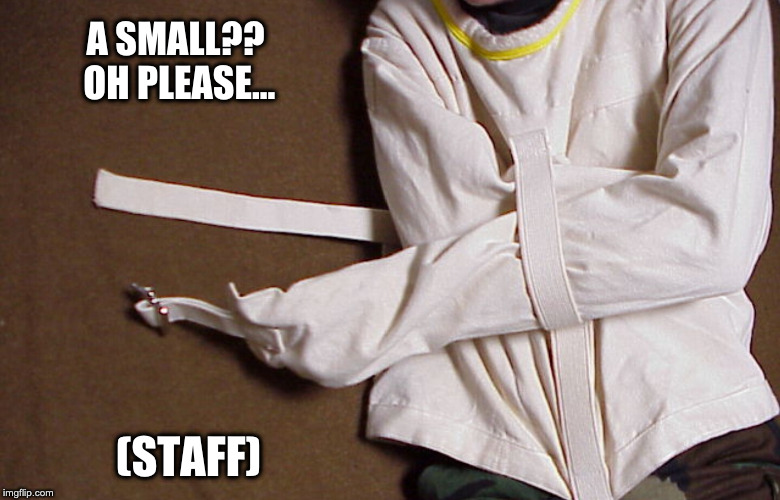 Straight Jacket | A SMALL??  OH PLEASE... (STAFF) | image tagged in straight jacket | made w/ Imgflip meme maker