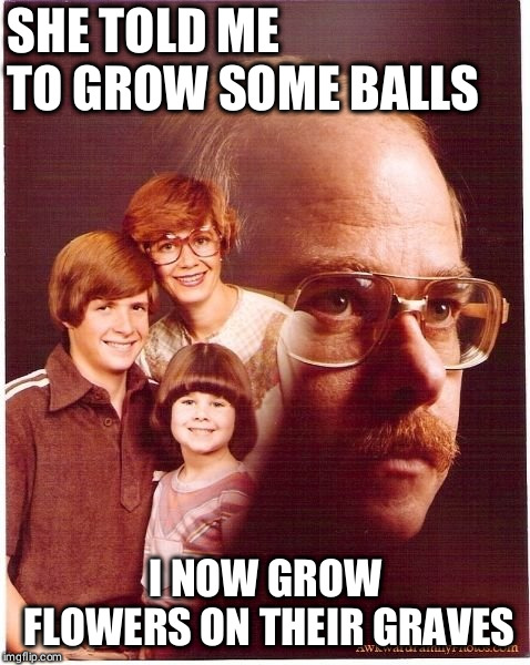 Vengeance Dad Meme | SHE TOLD ME TO GROW SOME BALLS I NOW GROW FLOWERS ON THEIR GRAVES | image tagged in memes,vengeance dad | made w/ Imgflip meme maker