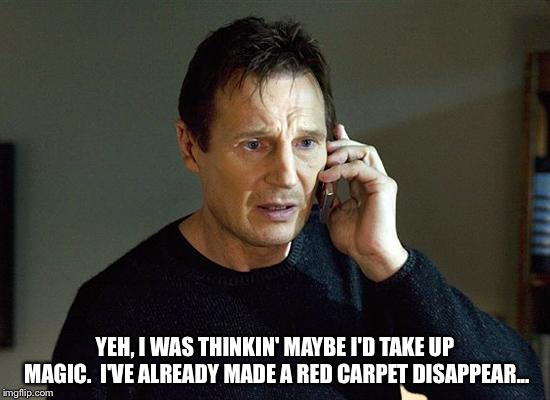 Liam explores alternate careers | YEH, I WAS THINKIN' MAYBE I'D TAKE UP MAGIC.  I'VE ALREADY MADE A RED CARPET DISAPPEAR... | image tagged in memes,liam neeson taken 2 | made w/ Imgflip meme maker