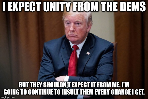 Man Baby Trump |  I EXPECT UNITY FROM THE DEMS; BUT THEY SHOULDN'T EXPECT IT FROM ME. I'M GOING TO CONTINUE TO INSULT THEM EVERY CHANCE I GET. | image tagged in man baby trump | made w/ Imgflip meme maker