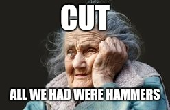 very old woman | CUT ALL WE HAD WERE HAMMERS | image tagged in very old woman | made w/ Imgflip meme maker