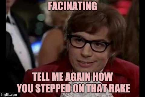 Austin Powers | FACINATING TELL ME AGAIN HOW YOU STEPPED ON THAT RAKE | image tagged in austin powers | made w/ Imgflip meme maker