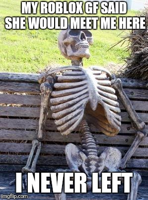Waiting Skeleton Meme | MY ROBLOX GF SAID SHE WOULD MEET ME HERE I NEVER LEFT | image tagged in memes,waiting skeleton | made w/ Imgflip meme maker