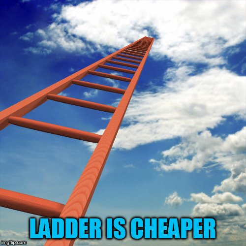 ladder to the sky | LADDER IS CHEAPER | image tagged in ladder to the sky | made w/ Imgflip meme maker