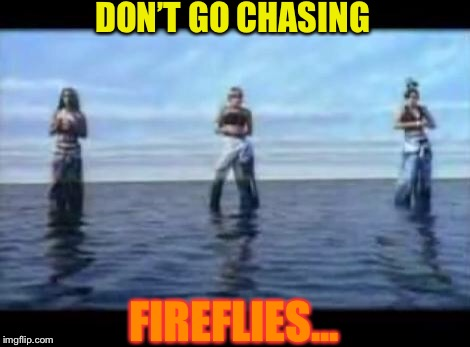 TLC Waterfall | DON'T GO CHASING FIREFLIES... | image tagged in tlc waterfall | made w/ Imgflip meme maker