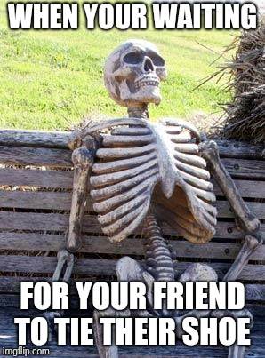 Waiting Skeleton Meme | WHEN YOUR WAITING FOR YOUR FRIEND TO TIE THEIR SHOE | image tagged in memes,waiting skeleton | made w/ Imgflip meme maker