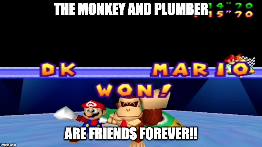 DK and Mario | THE MONKEY AND PLUMBER ARE FRIENDS FOREVER!! | image tagged in dk,mario,mario party | made w/ Imgflip meme maker