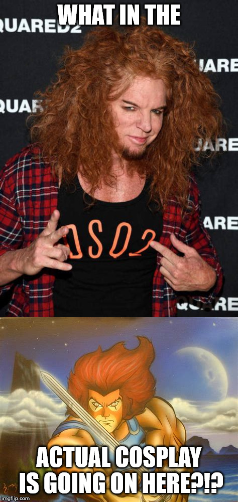 by the power of meow mix! | WHAT IN THE ACTUAL COSPLAY IS GOING ON HERE?!? | image tagged in thundercats,doppelgnger,ginger,carrot topp | made w/ Imgflip meme maker
