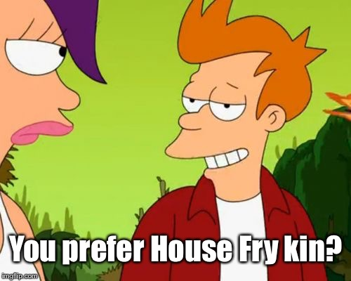 Slick Fry Meme | You prefer House Fry kin? | image tagged in memes,slick fry | made w/ Imgflip meme maker