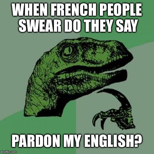 Philosoraptor Meme | WHEN FRENCH PEOPLE SWEAR DO THEY SAY PARDON MY ENGLISH? | image tagged in memes,philosoraptor | made w/ Imgflip meme maker