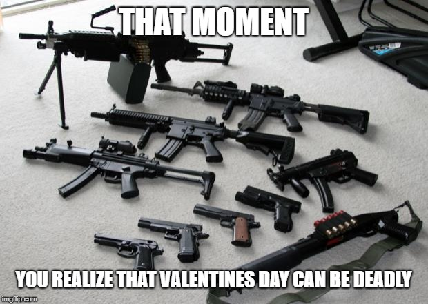 guns | THAT MOMENT YOU REALIZE THAT VALENTINES DAY CAN BE DEADLY | image tagged in guns | made w/ Imgflip meme maker