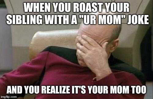 "Captain Picard Facepalm Meme | WHEN YOU ROAST YOUR SIBLING WITH A ""UR MOM"" JOKE AND YOU REALIZE IT'S YOUR MOM TOO 
