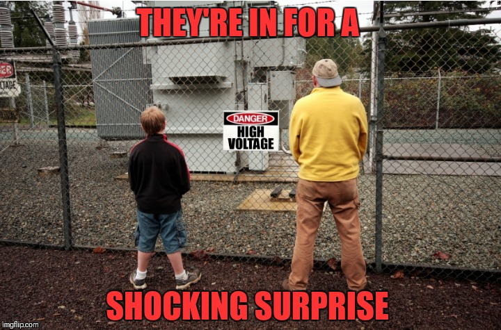 High Voltage | THEY'RE IN FOR A SHOCKING SURPRISE | image tagged in memes,funny,peeing on electric fence,high voltage,stupid people,shocking | made w/ Imgflip meme maker