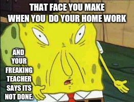 ._. | THAT FACE YOU MAKE WHEN YOU  DO YOUR HOME WORK AND YOUR FREAKING TEACHER SAYS ITS NOT DONE. | image tagged in spongebob,stupidteachers,ihateschool | made w/ Imgflip meme maker