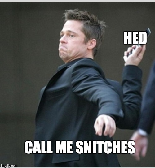 Brad Pitt throwing phone | CALL ME SNITCHES HED | image tagged in brad pitt throwing phone | made w/ Imgflip meme maker