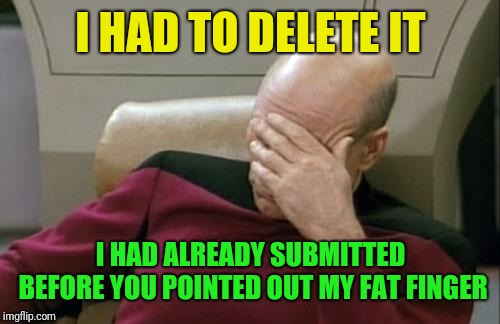 Captain Picard Facepalm Meme | I HAD TO DELETE IT I HAD ALREADY SUBMITTED BEFORE YOU POINTED OUT MY FAT FINGER | image tagged in memes,captain picard facepalm | made w/ Imgflip meme maker