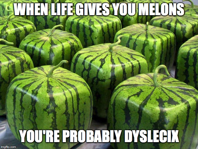 MELONS | WHEN LIFE GIVES YOU MELONS YOU'RE PROBABLY DYSLECIX | image tagged in memes,when lif gives you lemons,when life gives you lemons,melons,dyslexic | made w/ Imgflip meme maker