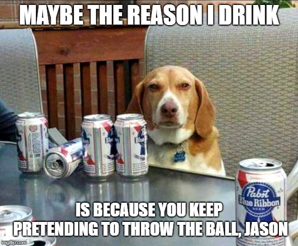 beer dog | MAYBE THE REASON I DRINK IS BECAUSE YOU KEEP PRETENDING TO THROW THE BALL, JASON | image tagged in beer dog | made w/ Imgflip meme maker