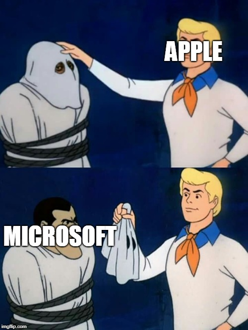 Scooby doo mask reveal | APPLE MICROSOFT | image tagged in scooby doo mask reveal | made w/ Imgflip meme maker
