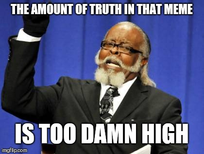 Too Damn High Meme | THE AMOUNT OF TRUTH IN THAT MEME IS TOO DAMN HIGH | image tagged in memes,too damn high | made w/ Imgflip meme maker