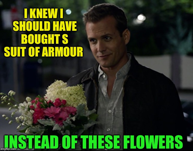 harvey specter flowers | I KNEW I SHOULD HAVE BOUGHT S SUIT OF ARMOUR INSTEAD OF THESE FLOWERS | image tagged in harvey specter flowers | made w/ Imgflip meme maker
