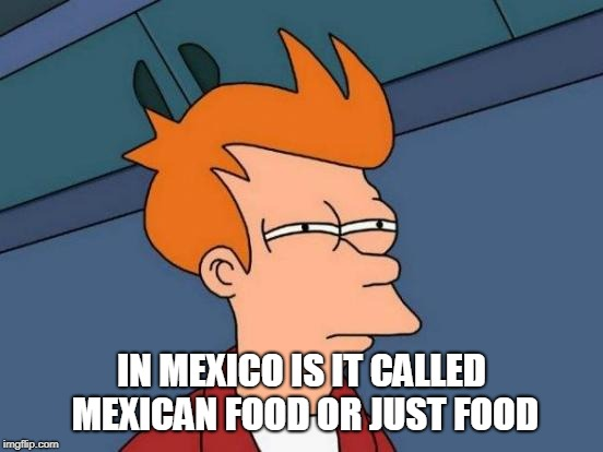 Futurama Fry Meme | IN MEXICO IS IT CALLED MEXICAN FOOD OR JUST FOOD | image tagged in memes,futurama fry | made w/ Imgflip meme maker