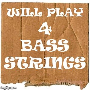 WILL PLAY 4 BASS STRINGS | image tagged in funny signs | made w/ Imgflip meme maker