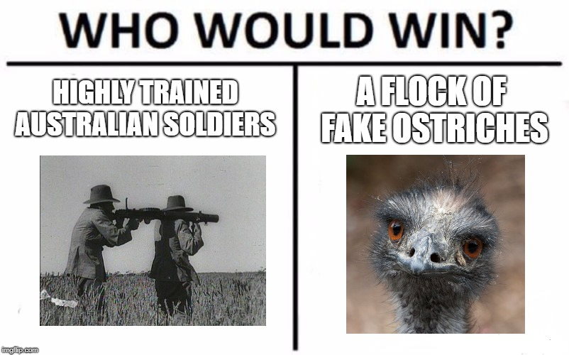 Who Would Win? Meme | HIGHLY TRAINED AUSTRALIAN SOLDIERS A FLOCK OF FAKE OSTRICHES | image tagged in memes,who would win | made w/ Imgflip meme maker