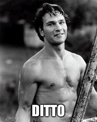 Patrick Swayze Shirtless | DITTO | image tagged in patrick swayze shirtless | made w/ Imgflip meme maker