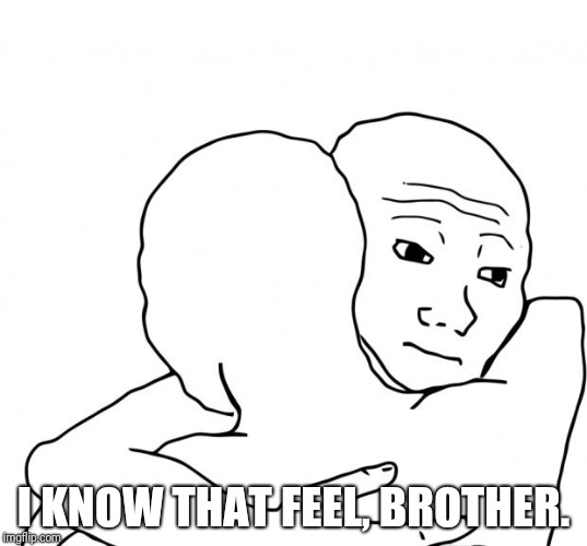 I Know That Feel Bro Meme | I KNOW THAT FEEL, BROTHER. | image tagged in memes,i know that feel bro | made w/ Imgflip meme maker