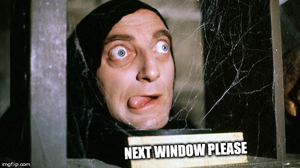 Young Frankenstein Marty Feldman | NEXT WINDOW PLEASE | image tagged in young frankenstein marty feldman | made w/ Imgflip meme maker