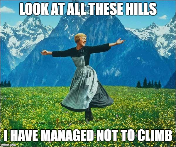 Julie Andrews | LOOK AT ALL THESE HILLS I HAVE MANAGED NOT TO CLIMB | image tagged in julie andrews | made w/ Imgflip meme maker