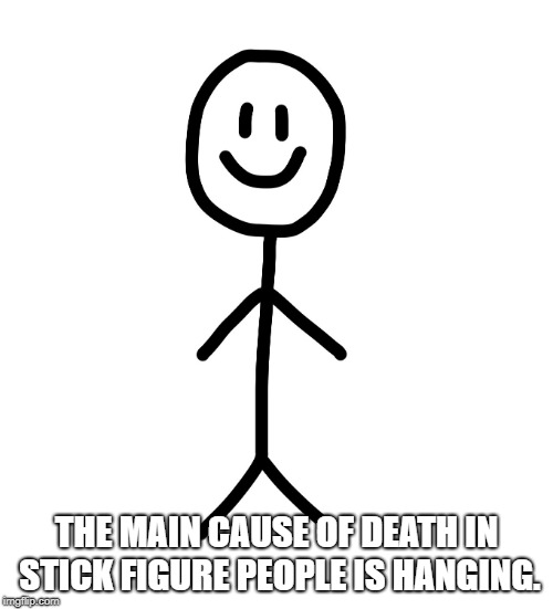 Stick figure | THE MAIN CAUSE OF DEATH IN STICK FIGURE PEOPLE IS HANGING. | image tagged in stick figure | made w/ Imgflip meme maker