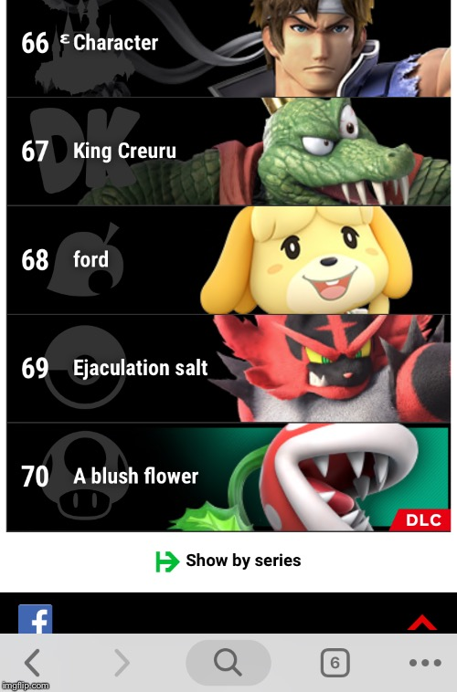 If you want to try this out, go to the smash bros website, select Korean language,then translate to english.Go to characters | image tagged in super smash bros,so true memes | made w/ Imgflip meme maker