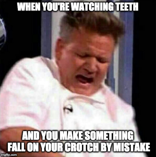That movie is EVIL. | WHEN YOU'RE WATCHING TEETH AND YOU MAKE SOMETHING FALL ON YOUR CROTCH BY MISTAKE | image tagged in memes,gordon ramsey,teeth,movies,jumpscare,uncomfortable | made w/ Imgflip meme maker
