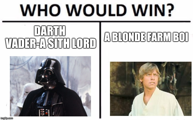Who Would Win? Meme | DARTH VADER-A SITH LORD A BLONDE FARM BOI | image tagged in memes,who would win | made w/ Imgflip meme maker