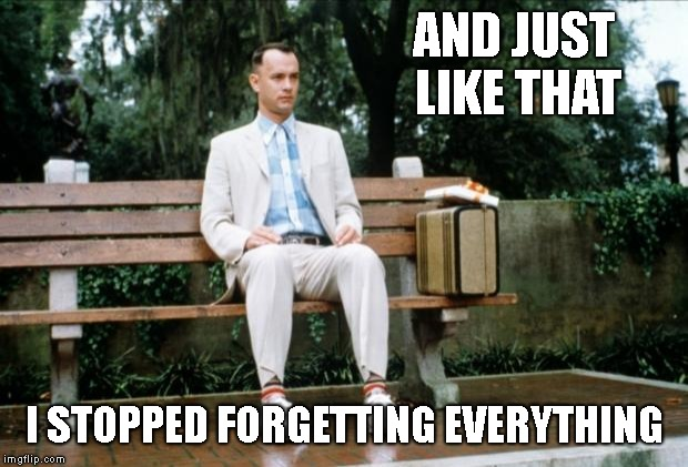 Forrest Gump | AND JUST LIKE THAT I STOPPED FORGETTING EVERYTHING | image tagged in forrest gump | made w/ Imgflip meme maker