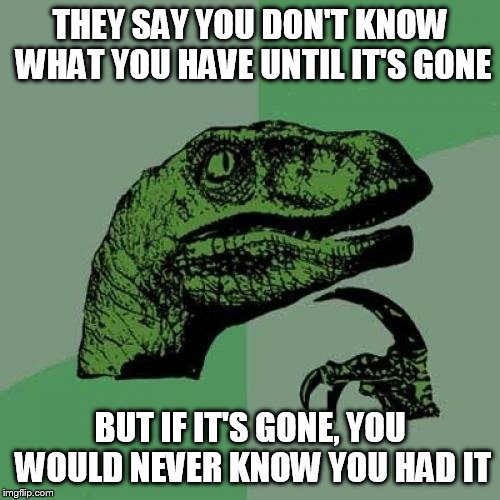 Philosoraptor Meme | THEY SAY YOU DON'T KNOW WHAT YOU HAVE UNTIL IT'S GONE BUT IF IT'S GONE, YOU WOULD NEVER KNOW YOU HAD IT | image tagged in memes,philosoraptor | made w/ Imgflip meme maker