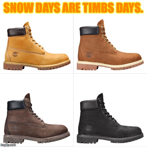 Snow Days are Timbs Days. |  SNOW DAYS ARE TIMBS DAYS. | image tagged in timberland boots,timbs,snow day,wheat rust brown and black nubuck,winter,memes | made w/ Imgflip meme maker