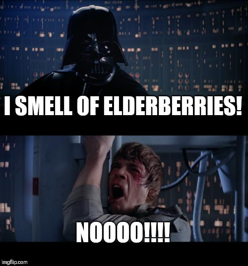 Star Wars No | I SMELL OF ELDERBERRIES! NOOOO!!!! | image tagged in memes,star wars no,monty python,monty python and the holy grail,luke skywalker,darth vader luke skywalker | made w/ Imgflip meme maker
