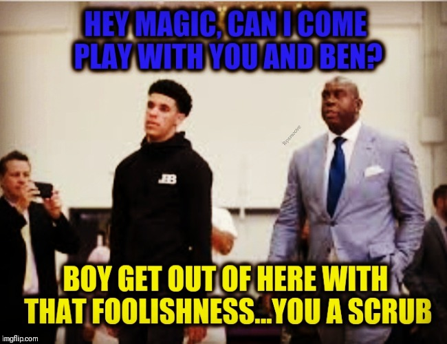 image tagged in nba memes,magic,lonzo ball,lakers | made w/ Imgflip meme maker