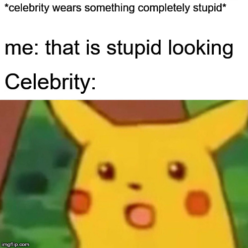 the grammys summed up | *celebrity wears something completely stupid* me: that is stupid looking Celebrity: | image tagged in celebrity | made w/ Imgflip meme maker