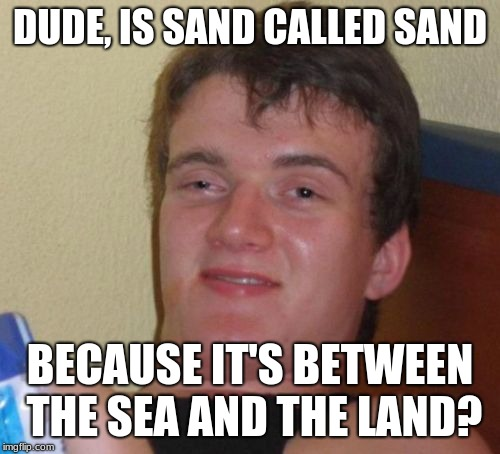 Something's fishy around here... | DUDE, IS SAND CALLED SAND BECAUSE IT'S BETWEEN THE SEA AND THE LAND? | image tagged in memes,10 guy,funny,memelord344,sand,upvotes | made w/ Imgflip meme maker