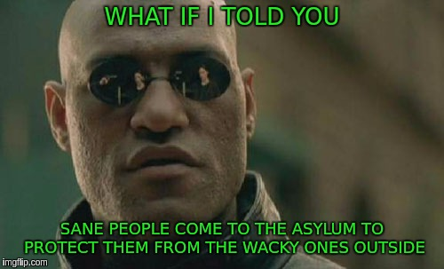 Matrix Morpheus Meme | WHAT IF I TOLD YOU SANE PEOPLE COME TO THE ASYLUM TO PROTECT THEM FROM THE WACKY ONES OUTSIDE | image tagged in memes,matrix morpheus | made w/ Imgflip meme maker