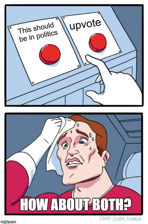 Two Buttons Meme | This should be in politics upvote HOW ABOUT BOTH? | image tagged in memes,two buttons | made w/ Imgflip meme maker